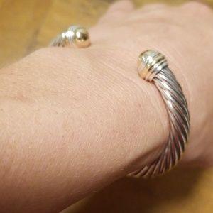 David Yurman 7mm Cable Bracelet w/14k Gold Ends